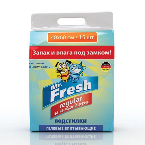 Mr.Fresh Regular Пеленки для Ежедневного применения Гелевые впитывающие с Липкими фиксаторами