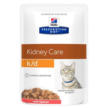 Заказать Hills Prescription Diet Feline k / d Salmon Лечебные Паучи для кошек Заболевание почек Лосось (цена за упаковку) по цене 850 руб