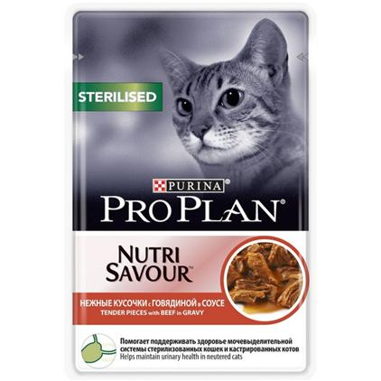 Заказать Purina Pro Plan NutriSavour Sterilised Beef / Паучи Пурина Про План для Стерилизованных кошек Говядина в соусе (цена за упаковку) по цене 1390 руб