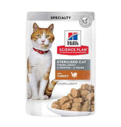 Hills Science Plan Sterilised Cat Young Adult Turkey / Паучи Хиллс для Стерилизованных котов и кошек от 6 месяцев до 6 лет Индейка (цена за упаковку)