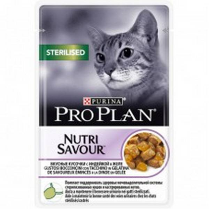 Заказать Purina Pro Plan NutriSavour Sterilised Turkey / Паучи Пурина Про План для Стерилизованных кошек Индейка в желе (цена за упаковку) по цене 1390 руб