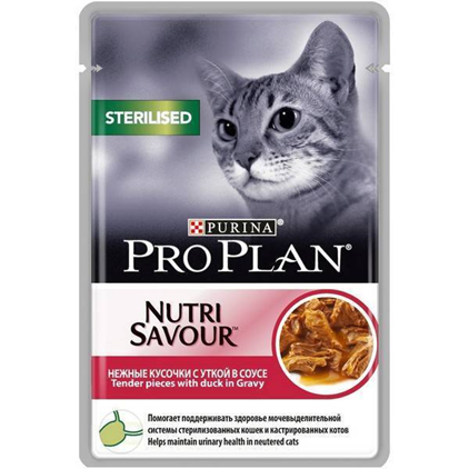 Заказать Purina Pro Plan NutriSavour Sterilised Duck / Паучи Пурина Про План для Стерилизованных кошек Утка в соусе (цена за упаковку) по цене 1070 руб