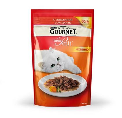 Заказать Gourmet Mon Petit / Паучи для кошек Мини филе с Говядиной Цена за упаковку по цене 460 руб