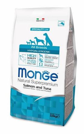 Заказать Monge Dog Speciality Hypoallergenic / корм для собак гипоаллергенный лосось с тунцом по цене 1370 руб