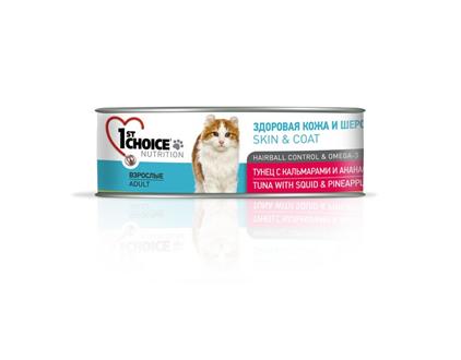 Заказать 1st Choice Skin & Coat Hairball Control & Omega 3 / консервы для кошек Тунец с Кальмаром и Ананасом Цена за упаковку по цене 1020 руб