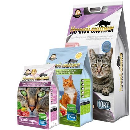 Заказать Ночной охотник Сухой корм для кошек для Стерилизованных кошек и Кастрированных котов по цене 80 руб
