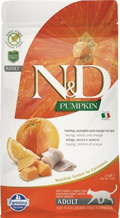 Заказать Farmina N&D GF Pumpkin Herring / Сухой корм для кошек Беззерновой Тыква и Сельдь по цене 490 руб