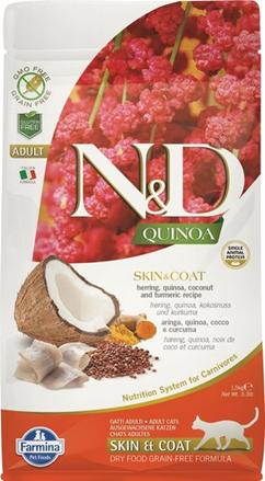 Заказать Farmina N&D GF Quinoa Skin&Coat Herring / Сухой корм для кошек Беззерновой для Здоровья Кожи и Шерсти Киноа и Сельдь по цене 550 руб