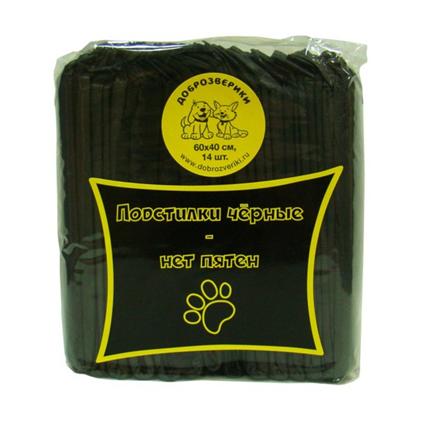 Заказать Доброзверики Подстилки впитывающие для животных с Суперабсорбентом Черные по цене 220 руб