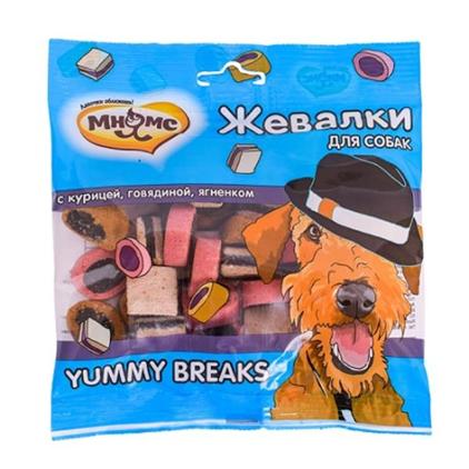 Заказать Мнямс Лакомство для собак Жевалки YUMMY BREAKS с Курицей Говядиной и Ягненком по цене 140 руб