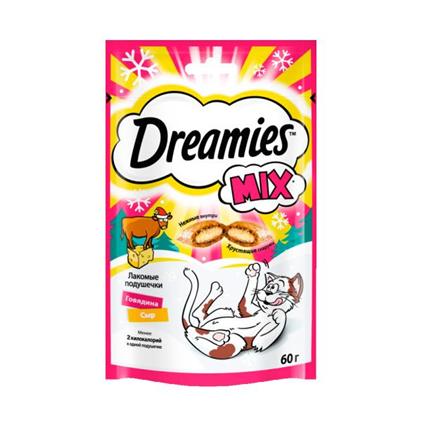 Заказать Dreamies Mix / Лакомство для кошек Подушечки Говядина Сыр по цене 60 руб