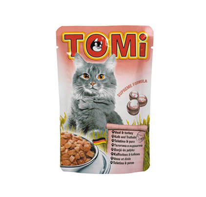 TOMi Veal & Turkey / Паучи Томи для кошек Телятина с Индейкой (цена за упаковку)