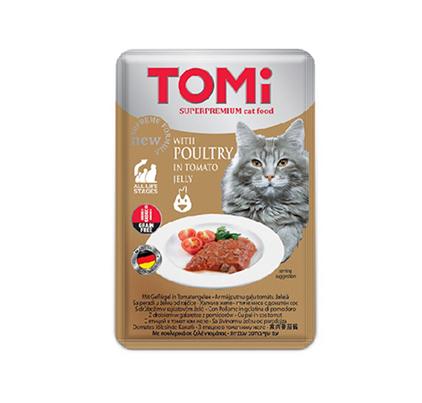 TOMi GF Poultry in Tomato jelly / Беззерновые Паучи Томи для кошек Птица в Томатном желе (цена за упаковку)