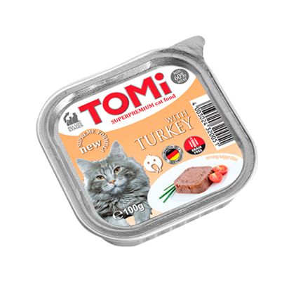 TOMi Turkey / Паштет Томи для кошек с Индейкой (цена за упаковку)