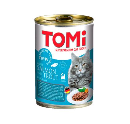 TOMi Salmon & Trout in gravy / Консервы Томи для кошек Лосось с Форелью кусочки в соусе (цена за упаковку)