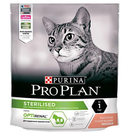 Purina Pro Plan Cat Sterilised Salmon OptiRenal / Сухой корм Пурина Про План для Стерилизованных кошек для Поддержания здоровья почек Лосось