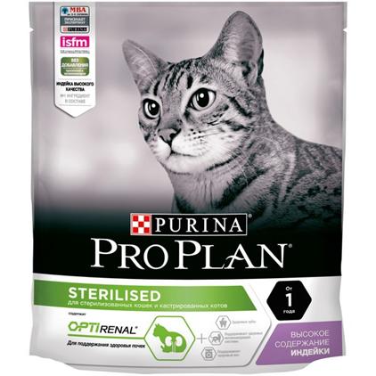 Заказать Purina Pro Plan Sterilised Turkey OptiRenal / Сухой корм Пурина Про План для Стерилизованных кошек для Поддержания здоровья почек Индейка по цене 280 руб