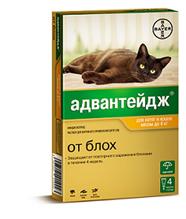 Bayer Адвантейдж 40К / Капли на холку от Блох для кошек весом до 4 кг