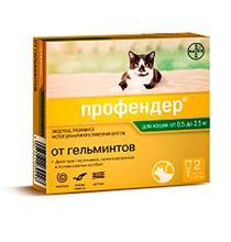 Bayer Профендер / Капли на холку от Гельминтов для кошек весом 0,5-2,5 кг