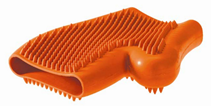Hunter Smart / резиновая перчатка для вычесывания шерсти оранжевая
