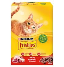 Friskies / Сухой корм Фрискис для кошек с Мясом Курицей и Печенью