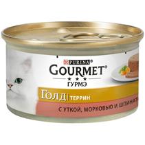 Gourmet Gold / Паштет Гурме Голд для кошек с Уткой морковью и шпинатом (цена за упаковку)