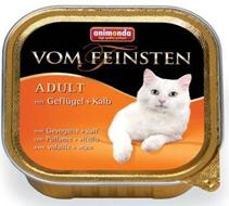 Animonda Vom Feinsten Adult / Консервы Анимонда для кошек с домашней Птицей и Телятиной (цена за упаковку)