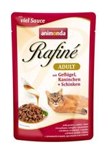 Animonda Rafine Soupe Adult / Паучи Анимонда для кошек коктейль из мяса домашней Птицы, Кролика и Ветчины (цена за упаковку)