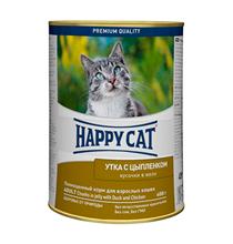 Happy Cat / Консервы Хэппи Кэт для кошек кусочки в Желе Утка и Цыпленок (цена за упаковку, Германия)