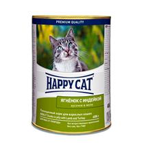 Happy Cat / Консервы Хэппи Кэт для кошек кусочки в Желе Ягненок и Индейка (цена за упаковку, Германия)