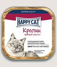 Заказать Happy Cat / Нежный Паштет для кошек Кролик кусочками (Германия) по цене 2200 руб