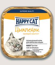 Заказать Happy Cat / Нежный Паштет для кошек Цыпленок кусочками (Германия) по цене 2200 руб