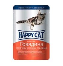 Happy Cat / Паучи Хэппи Кэт для кошек Говядина, Печень, зеленый горох в желе (цена за упаковку, Германия)