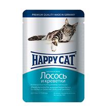 Happy Cat / Паучи Хэппи Кэт для кошек Лосось, Креветки в желе (цена за упаковку, Германия)