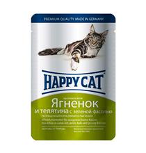 Happy Cat / Паучи Хэппи Кэт для кошек Ягненок, Телятина, зеленая фасоль в желе (цена за упаковку, Германия)