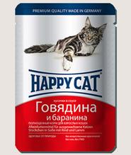 Заказать Happy Cat / Паучи для кошек Говядина, Баранина в Соусе (Германия) по цене 1394 руб