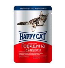 Happy Cat / Паучи Хэппи Кэт для кошек Говядина, Баранина в Соусе (цена за упаковку, Германия)
