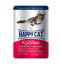 Happy Cat / Паучи Хэппи Кэт для кошек Кролик, Индейка, морковь в соусе (цена за упаковку, Германия)