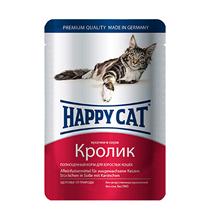 Happy Cat / Паучи Хэппи Кэт для кошек Кролик в соусе (цена за упаковку, Германия)