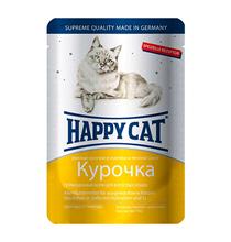 Happy Cat / Паучи Хэппи Кэт для кошек Курочка ломтики в яичном соусе (цена за упаковку, Германия)