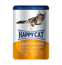Happy Cat / Паучи Хэппи Кэт для кошек Цыпленок, Печень, морковь в желе (цена за упаковку, Германия)
