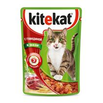 Kitekat / Паучи Китикет для кошек Говядина в желе (цена за упаковку)