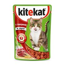 Kitekat / Паучи Китикет для кошек Говядина в соусе (цена за упаковку)