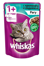 Заказать Whiskas Rabbit-Turkey / Паучи для взрослых кошек Кролик-Индейка рагу Цена за упаковку по цене 520 руб