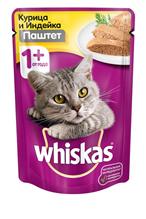 Whiskas Chicken Turkey / Паучи Вискас для взрослых кошек Курица Индейка паштет (цена за упаковку)