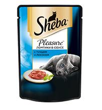 Заказать Sheba Pleasure / Паучи для кошек Ломтики в соусе с Тунцом и Лососем Цена за упаковку по цене 580 руб