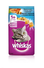 Whiskas Salmon-Tuna-Shrimps / Сухой корм Вискас подушечки-паштет для взрослых кошек Лосось-Тунец-Креветки