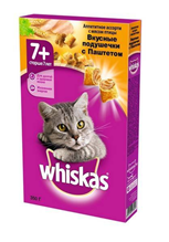 Whiskas Senior / Сухой корм Вискас подушечки-паштет для кошек Старше 8 лет Птица