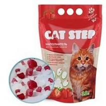 Cat Step / Силикагелевый наполнитель Кэт Степ для кошачьего туалета с ароматом Клубники