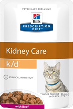 Hills Prescription Diet k\d Kidney Care Beef / Лечебные паучи Хиллс для кошек при Заболеваниях Почек Говядина (цена за упаковку)